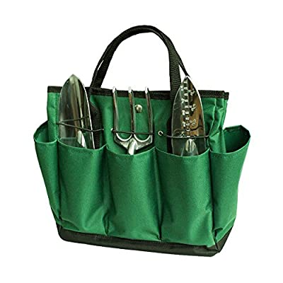 "SYOOY Gardening Tool Tote Tools Organizer with 8 Pockets for Indoor Outdoor Garden - Dark Green 13.5"" L (Tools not Included)"