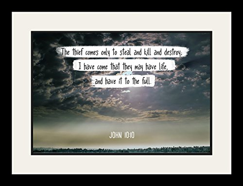 Bible Verse Wall Art ''The thief comes only to steal and kill.'' John 10:10 Christian Poster Framed Picture Wall Decor Print | Spiritual Inspirational Verses and Quotes (19x25 Framed) by WeSellPhotos
