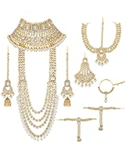 Aheli Ethnic Wedding Indian Traditional Bridal Jewelry Set Long Choker Necklace Earrings Maang Tikka Nath Paasa Hath Phool in Faux Kundan Beads