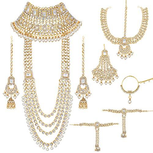 Aheli Traditional Wedding Indian Bridal Jewelry Set Long Choker Necklace Earrings Maang Tikka Nath Paasa Hath Phool in Faux Kundan Beads (White)