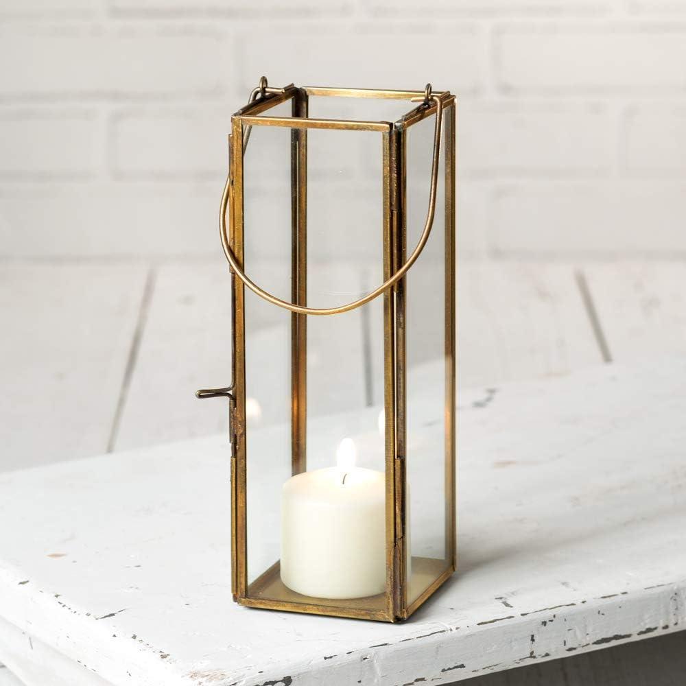 Antique Vintage Gold Metal /& Glass Large Charm Rectangle Lantern Candle Holder