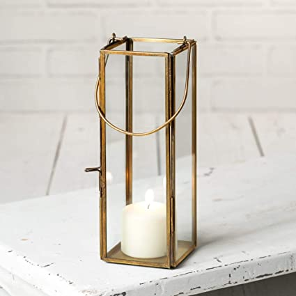 Attractive And Graceful Thin Hayworth Metal Lantern Candle Holder Antique Brass Rustic Indoor Outdoor Candle Lantern For Your Home Decor Can Fit 2 Inches Pillar Candle Amazon Co Uk Kitchen Home