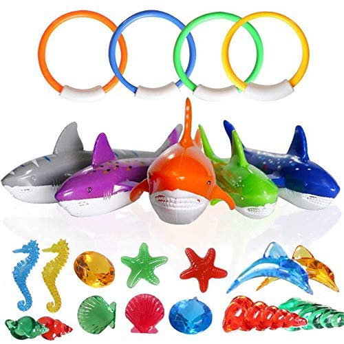 MAIBEST 23 Pack Diving Pool Toys Underwater Swimming/Diving Pool Toy Rings for Kids Includes 4 Diving Rings,5 Shark Pool Toy,14 Shining Underwater Dive Gem Pool Toy Set Non-Toxic Safe for -