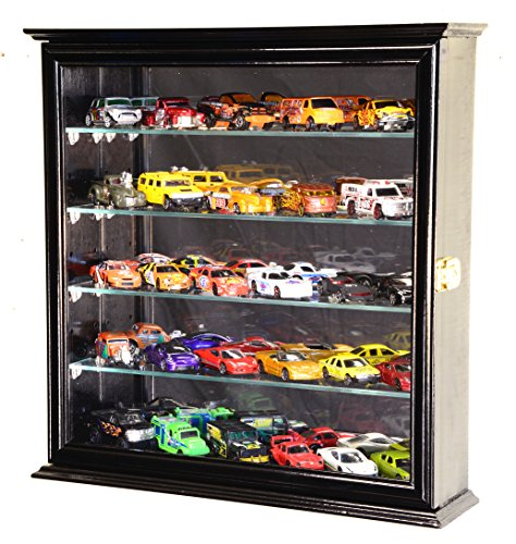 4 Adjustable Shelves Mirrored Hot Wheels/Matchbox/Diecast Cars/1/64 Model Display Case Cabinet, Black