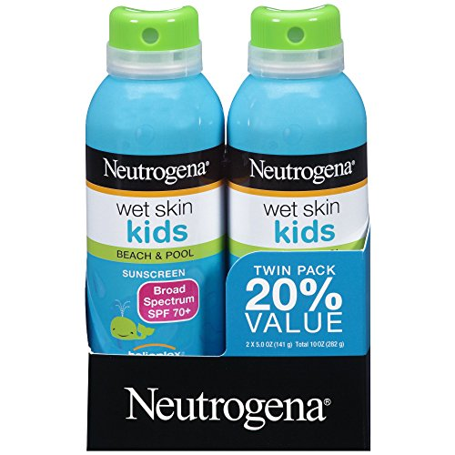 Neutrogena Wet Skin Kids Sunscreen Spray, Water-Resistant and Oil-Free, Broad Spectrum SPF 70+, 5 oz,  2 Pack -