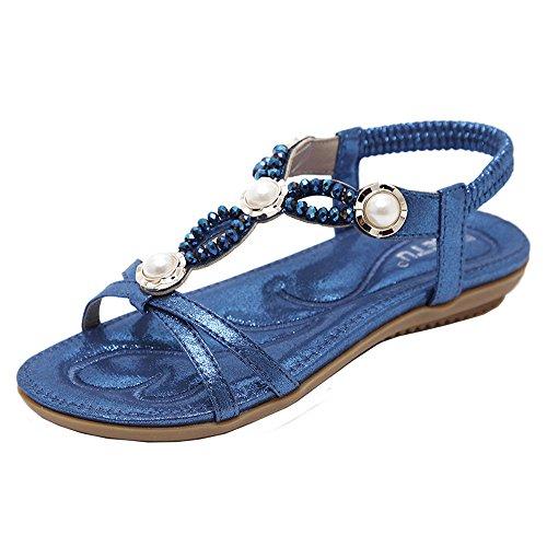 Colorful Women Beach Sandals, (TM) Summer Ladies Teenage Girls Rhinestone Beads Sandals Outdoor Flat Bohemia Sandals Shoes Blue