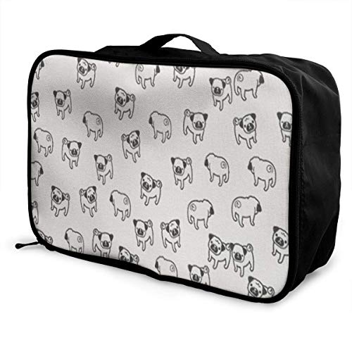 Portable Luggage Duffel Bag Pug Pattern Travel Bags Carry-on In Trolley Handle