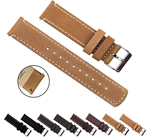 BARTON Quick Release Top Grain Leather - Choice of Colors & Widths (18mm, 20mm or 22mm) - Gingerbread/Linen 18mm Watch Band