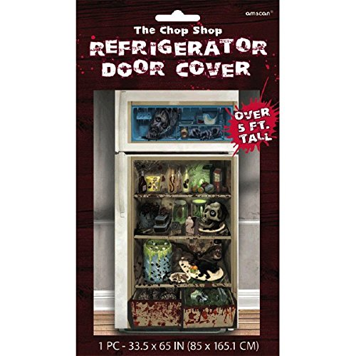 amscan Haunted Asylum Halloween Chop Shop Refrigerator Door Cover Decoration, Multicolor, 65
