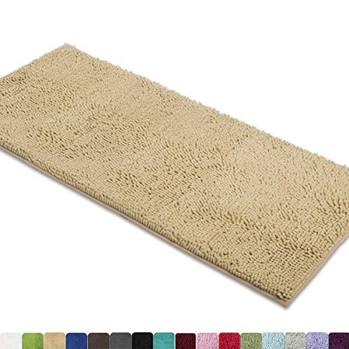 MAYSHINE Non-Slip Bathroom Rug Shag Shower Mat Machine-Washable Bath mats (27.5×47 inch) with Water Absorbent Soft Microfibers of – Beige