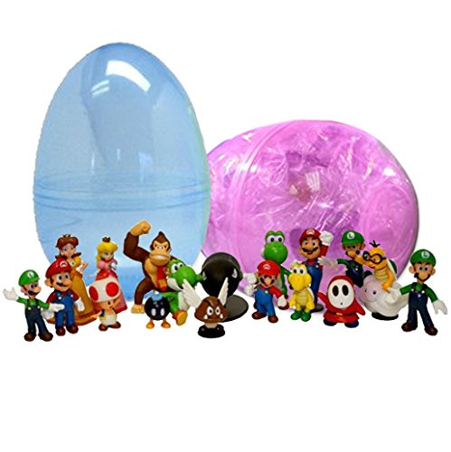 1 Jumbo Mario Toy Filled Easter Egg - 18 Assorted Characters Inside - Prefilled To Save You Time - Durable 6 Inch Egg in Bright Assorted Colors - Find Your Favorites - Hours of Creative Play (Mario Kart Figurines)