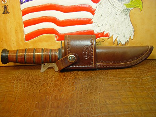 Marines Fighting Knife (KA-BAR Full Size US Marine Corp Fighting Knife crossdraw Brown Sheath.)