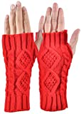 Outrip Womens Fingerless Gloves Winter Warm Knit Thumb Hole Mittens Arm Warmers (Red)