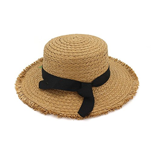 LOKOUO New Foreign Trade Hat Female Embroidered Straw Hat Seaside Beach Sun Hat Sunscreen Flat Top Sunhat Khaki adjustable,onesize,Beige ()