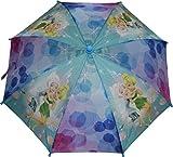 Disney Fairies Girls Umbrella With 3D Tinkerbell Molded Handle Aqua