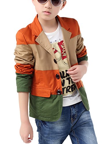 (BYCR Boys' Fashion Three Colors Cotton Blazer for Kids Size 4-18 No. 71422192 (170 (US Size 16-18), Rust red))
