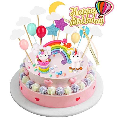 BBLIKE Deko Einhorn Cake mit Cloud Rainbow + Star Moon + Bunte Luftballons + Glückwunschkarte Geburtstag Set Kuchen Geburtstag für Kinder Hochzeit Party