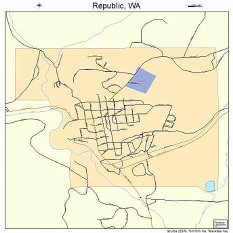 Amazon Com Large Street Road Map Of Republic Washington Wa