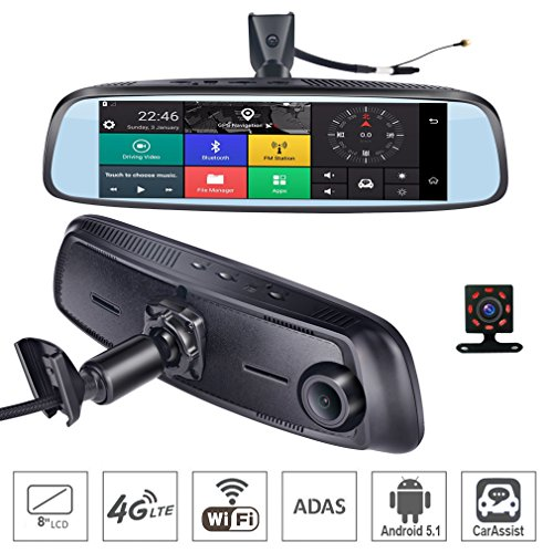 ShiZhen 8 inch 4G Touch IPS Special Car Dash Cam Rear View Reversing Mirror with GPS Bluetooth WiFi Android 5.1 Dual Lens FHD ()