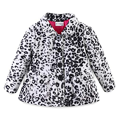 Mud Kingdom Toddler Girl Winter Jackets Fleece 4T White Leopard (Best Winter Coats For Toddlers 2019)