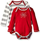 Burt's Bees Baby Set of 2 Organic Long Sleeve Bodysuits, Cranberry, 0-3 Months