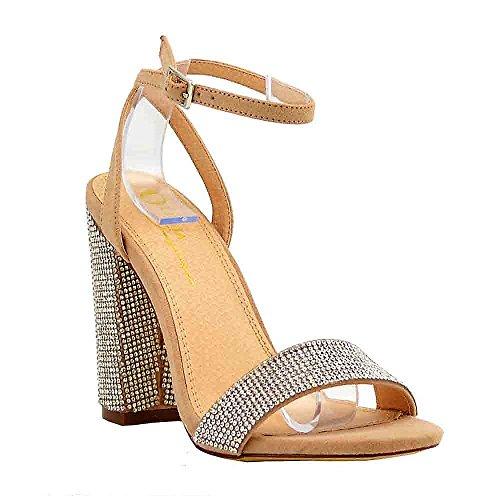 Rhinestone Chunky (Women's Casual Dress Sandal | Round Toe | Slender Adjustable Crisscross Ankle Buckle Strap | Rhinestone Covered Block Chunky Heel Sandals (8.5, Camel))
