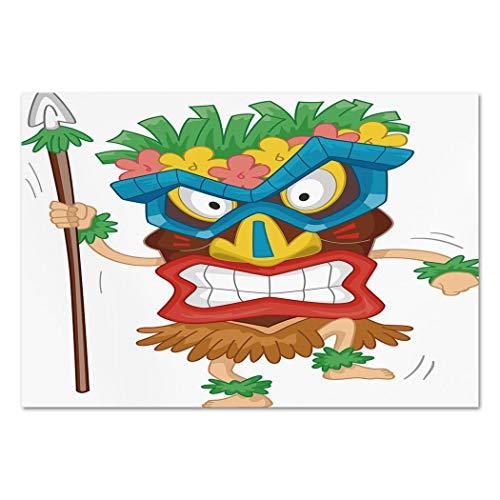 Large Wall Mural Sticker [ Tiki Bar Decor,Native Man Wearing Mask Illustration Cartoon Tribal Costume Primitive Ritual Decorative,Multicolor ] Self-Adhesive Vinyl Wallpaper/Removable Modern Decorati