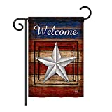 Breeze Decor GS111066-BO Welcome Vintage Americana Patriotic Impressions Decorative Vertical 13″ x 18.5″ Double Sided Garden Flag Set with Banner Pole Included Printed in USA For Sale