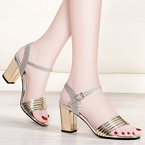High Shoes With Buckle Rough Hollow High New Jqdyl Shoes Summer Sandals heels Heeled Toed Golden Open Style Shallow RFBnPWa