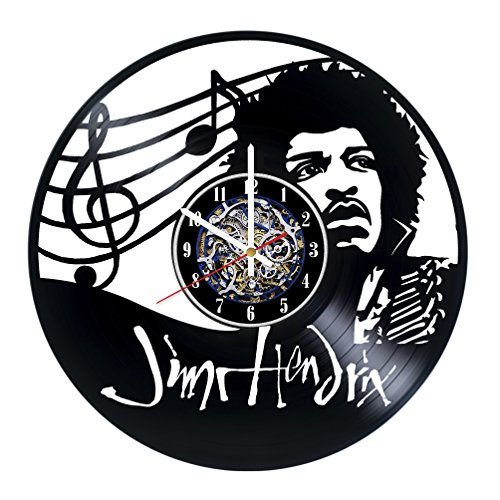 Jim Hendrix Jazz Guitarists Design Wall Clock Made From Used Vinyl Record - Get unique home wall decor - Gift ideas for parents or friends – Unique Music Fan Art