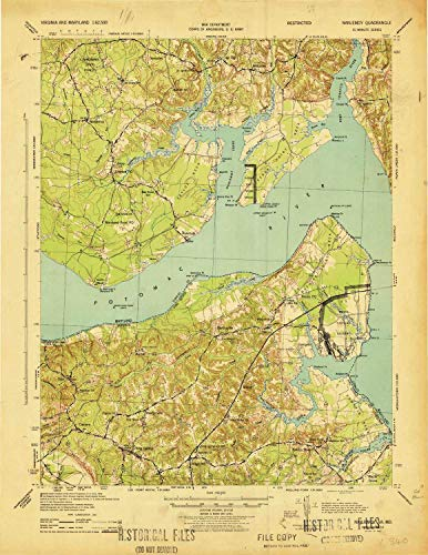 YellowMaps Nanjemoy MD topo map, 1:62500 Scale, 15 X 15 Minute, Historical, 1944, 21.74 x 16.78 in - Polypropylene