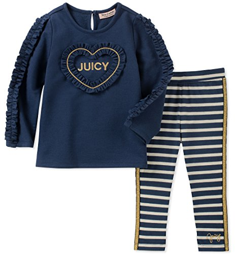 - Juicy Couture Baby Girls 2 Pieces Tunic Legging Set, Navy/Stripes, 24M
