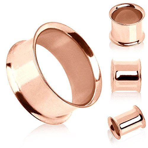 Anodized Rose Gold Plated Double Flare Tunnel Plug Sold as a Pair (2 Gauge) ()