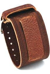 Nemesis Wide Brown Leather Cuff Wrist Watch Band