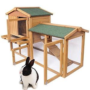 EUGAD-Conejera-de-Exterior-Madera-Gallineros-Casa-para-Conejos-Cobayas-Hamster-Mascotas-Jaula-para-Conejo-Animales-Pequenos-Impermeable-2-Niveles-3-Puertas-85x147x53cm-RojoBrillante-0034HT