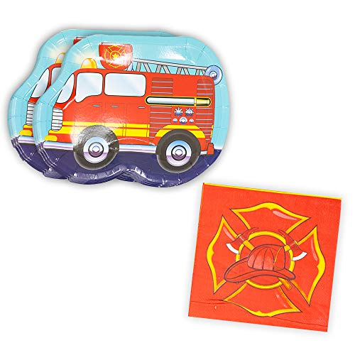 Fire Truck Shaped Plate & Napkin Sets (35+ Pieces for 16 Guests!), Firefighter Birthday Supplies, Fire Truck Tableware Sets, Fireman Party Decorations -