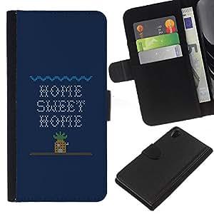 KingStore / Leather Etui en cuir / Sony Xperia Z2 D6502 / Home Sweet Home Cita Arte juego de ordenador