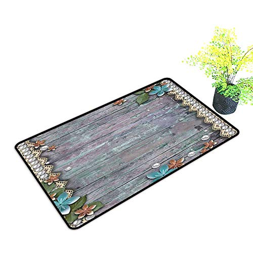 Door mat Pearls Floral Rustic Designed Pearls and Lace Like Design Flowers Wooden Background Print W20 xL31 Non-Slip Backing Brown Blue
