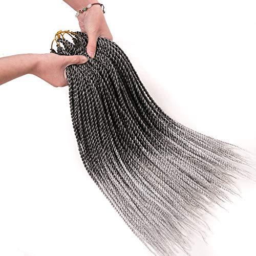 Geyashi Hair 18 Inch 6 Packs/Lot Dark Roots Grey 2S 1B/Grey Senegalese Twist Crochet Hair Braiding Hair Extensions 30 Strands/Pack Synthetic Kanekalon Jumbo Box Braids Hair(T 1B/Grey) ()