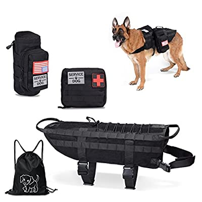 Hanshengday Tactical Dog Vest-Training Molle Harness-Tactical Dog Backpack-Pet Tactical -Vest Detachable Pouches-Relective Patches… from Hanshengday