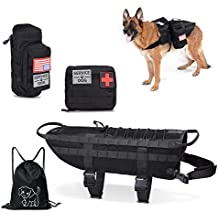 Tactical Dog Vest--Training Molle Harness--tactical dog backpack--Pet tactical --vest Detachable Pouches--Relective Patches