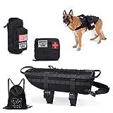 backpack service dog - Tactical Dog Vest--Training Molle Harness--tactical dog backpack--Pet tactical --vest Detachable Pouches--Relective Patches