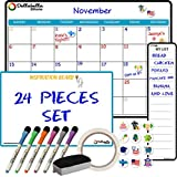 Magnetic Dry Erase Calendar for Refrigerator 17'x12'- Large White Board Calendar for Wall-Monthly Weekly Calendar Whiteboard for Fridge-Bonus My List, Inspiration Board-6 Dry Erase Markers-12 Icons