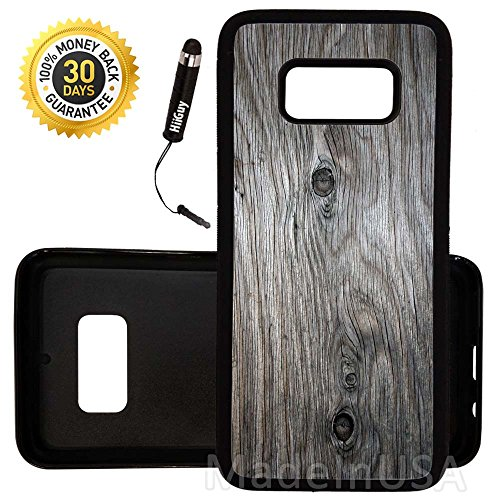 Custom Galaxy S8 Plus Case (Grey Weathered Wood Grain) Edge-to-Edge Rubber Black Cover Ultra Slim | Lightweight | Includes Stylus Pen by Innosub