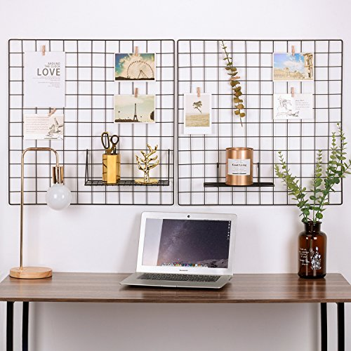 Kufox Painted Wire Wall Grid Panel, Multifunction Photo Hanging Display and Wall Storage Organizer, Pack of 2 , Size:23.6