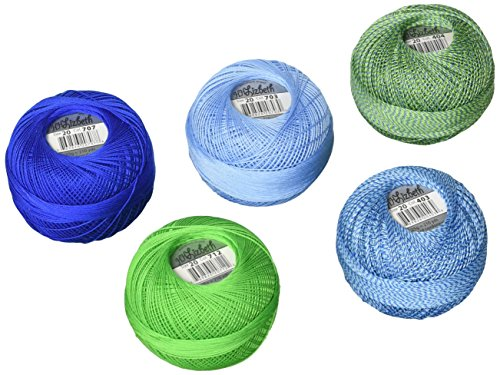 Handy Hands DPN-7221 Lizbeth Specialty Pack Cordonnet Cotton (5 Pack), Size 20, Lagoon Mix, Multicolor by Handy Hands