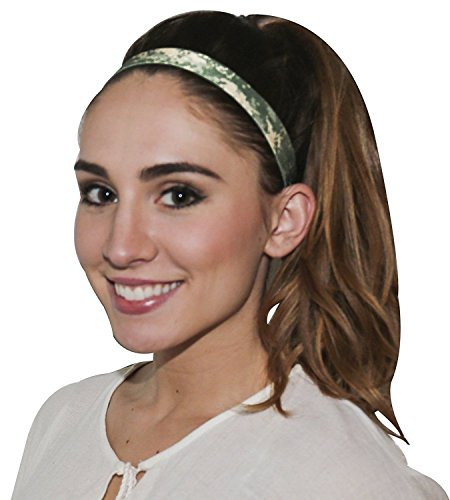 Camo Black OFG 1 INCH Elastic Sports Headband No Slip with Silicone Grip Polyester Blend for Adult Teen High Performance Hairband
