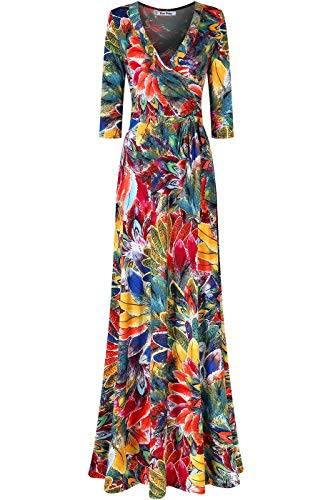 Bon Rosy Women's MadeInUSA 3/4 Sleeve V-Neck Printed Maxi Faux Wrap Peacock Dress Summer Wedding Guest Party Bridal Baby Shower Maternity Nursing Multicoloured M (Peacock Party Dress)