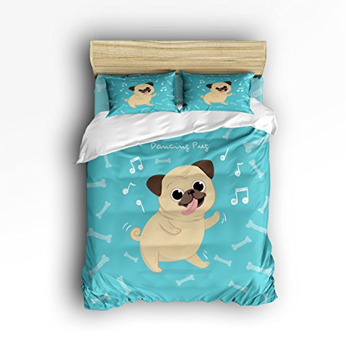 Libaoge 4 Piece Bed Sheets Set, Lovely Cute Dancing Pug Dog with Bones Background, 1 Flat Sheet 1 Duvet Cover and 2 Pillow Cases (Set Pug Sheet)
