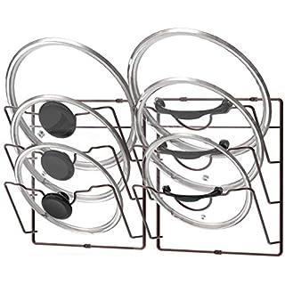 2 Pack - Simple Houseware Cabinet Door/Wall Mount Pot Lid Organizer Rack, Bronze